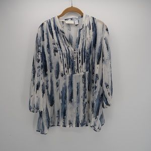 Chico's V-Neck Buttoned 3/4 Sleeve Blouse Size 2
